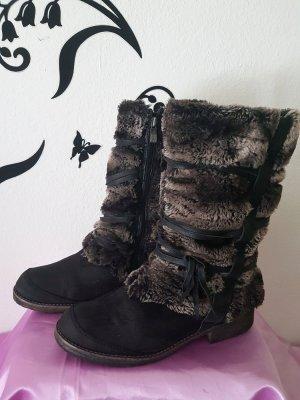 Tamaris Botas de pantorrilla ancha negro-gris Gamuza