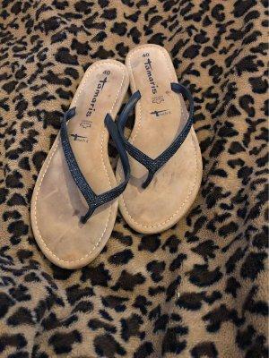 Tamaris Sandalo toe-post nero-marrone chiaro