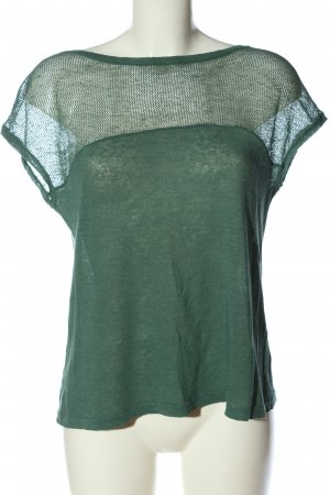 Tandem Linen Blouse green weave pattern casual look