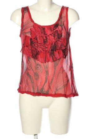 Tandem Blusa in seta rosso-nero motivo astratto stile casual