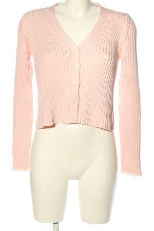 Tandem Giacca in maglia rosa motivo a righe stile casual