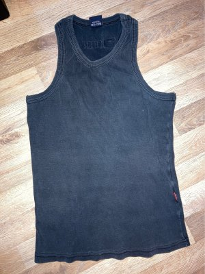 Diesel Prążkowana koszulka czarny-szary