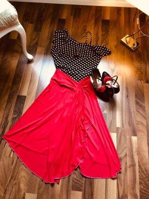 Slingback pumps zwart-rood Leer
