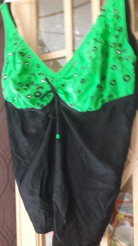 Tankini noir-vert fluo