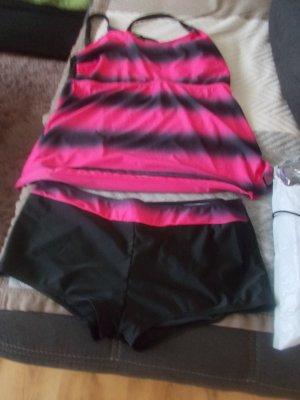Tankini czarny-różowy neonowy