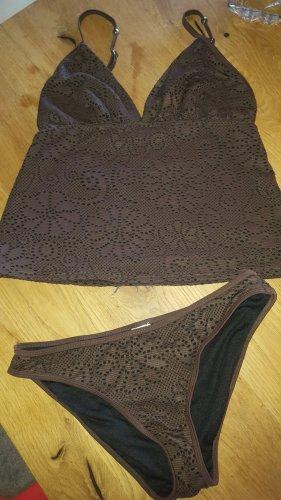 Tankini czarno-brązowy