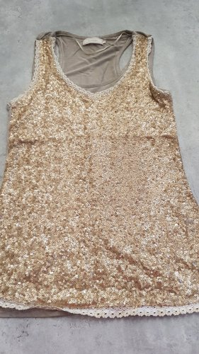 Cream Basic Top gold-colored