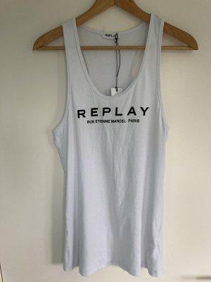 Replay Koszulka o kroju podkreślającym sylwetkę biały-czarny