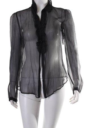 Tara jarmon Langarm-Bluse schwarz-weiß Punktemuster Paris-Look