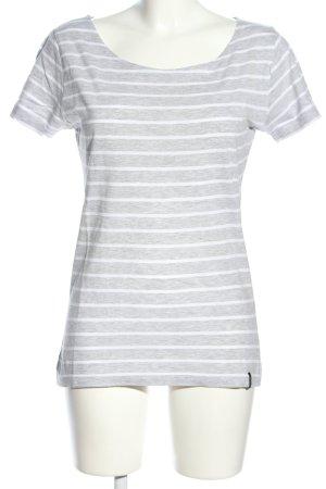 Tara Camisa de rayas gris claro-blanco moteado look casual