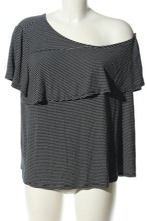 Target One-Shoulder-Shirt schwarz-weiß Streifenmuster Casual-Look