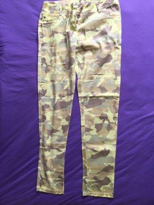 Pantalon taille basse multicolore coton