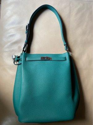 Crossbody bag cadet blue leather