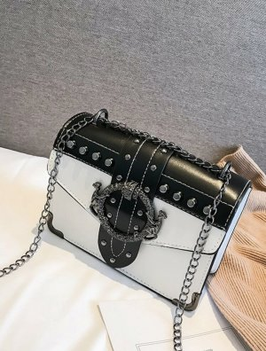 100% Fashion Mini sac blanc-noir