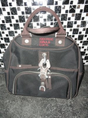 George Gina & Lucy Sac en toile noir-brun tissu mixte