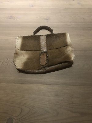 Laptop bag grey brown leather