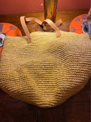 Bolso tipo cesta amarillo-coñac