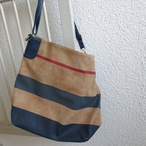 Pouch Bag dark blue-beige polyester