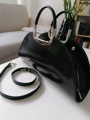 Genuine Leather Bolso folclórico negro-color plata