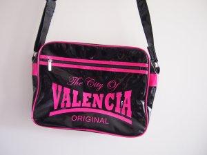 Bolso estilo universitario negro-rosa Material sintético