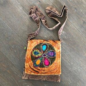 Tasche Baumwolle braun rust 22x22 cm große Blüte stonewashed