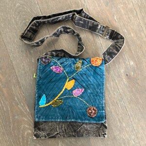Tasche Baumwolle schwarz petrol stonewashed 22x22 cm Blütenranke