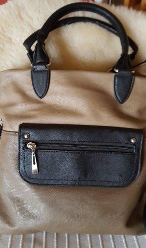 Tasche, beige/schwarz,