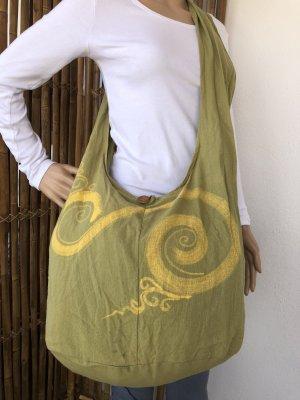 Tasche Beutel 2.Wahl hellgrün Spirale blassgelb 44x30cm Länge 85cm Baumwolle