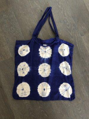 Handmade Borsa di tela blu-bianco sporco Cotone
