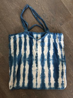 Handmade Canvas Bag natural white-steel blue cotton