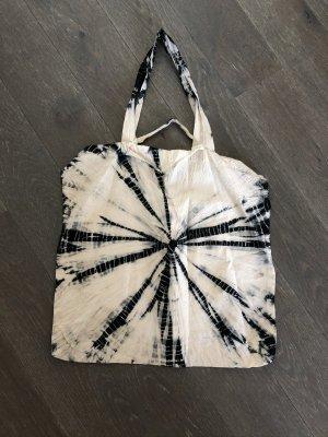 Handmade Canvas Bag natural white-black cotton