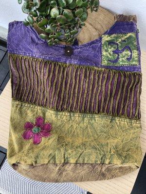 Tasche Beutel Baumwolle stonewashed Om Zeichen Blüte magenta