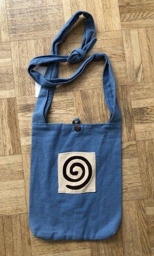 Tasche Beutel blau Baumwolle eckig 25x30,5 cm Spirale braun creme Frontfach