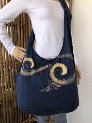 Handmade Sac seau bleu foncé-crème coton
