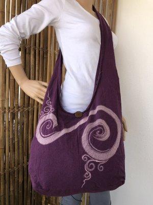 Handmade Sac seau violet foncé-rose clair coton