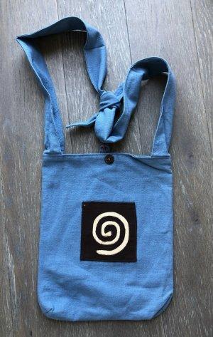Tasche Beutel eckig 25x30,5 blau Baumwolle Spirale nude braun Frontfach