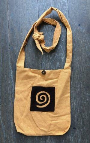 Tasche Beutel eckig 25x30,5 cm goldorange Baumwolle Spirale goldorange braun Frontfach