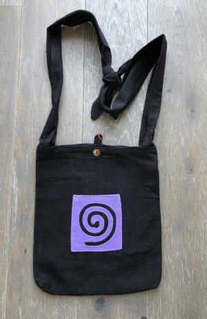 Handmade Sac seau noir-violet coton