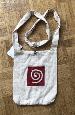 Handmade Sac seau blanc cassé-rouge foncé coton