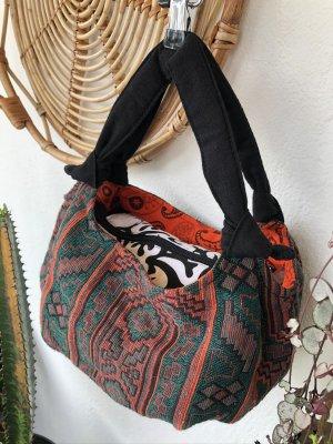 Tasche Beutel Ethno handgewebt 36x18 cm Baumwolle gefüttert dunkelgrün rot