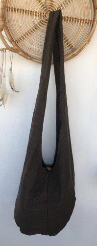Handmade Torebka typu worek ciemnobrązowy Bawełna