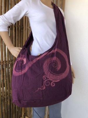Handmade Sac seau violet-rose coton