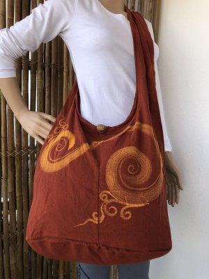 Handmade Sac seau rouille-orange clair coton
