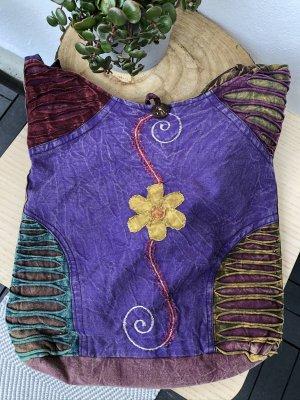Tasche Beutel stonewashed Baumwolle lila Blume gelb