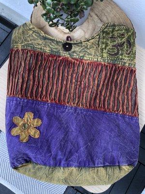 Tasche Beutel stonewashed Baumwolle Om Zeichen Blüte ockerfarben 38x39 cm
