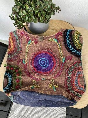 Tasche Beutel stonewashed Baumwolle Spirale lila Bestickung