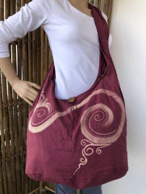 Handmade Sac seau violet-crème coton