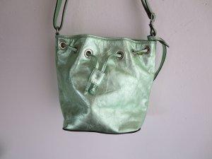 Tasche Beuteltasche klein hellgrün Metallic