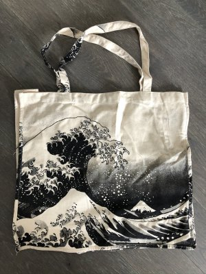 Handmade Bolso de tela blanco puro-negro Algodón