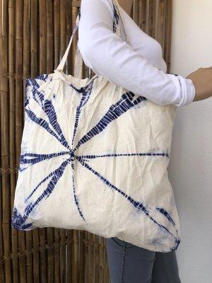 Handmade Borsa larga bianco sporco-blu scuro Cotone